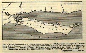 Карта Oльxoна с обозначением пещер